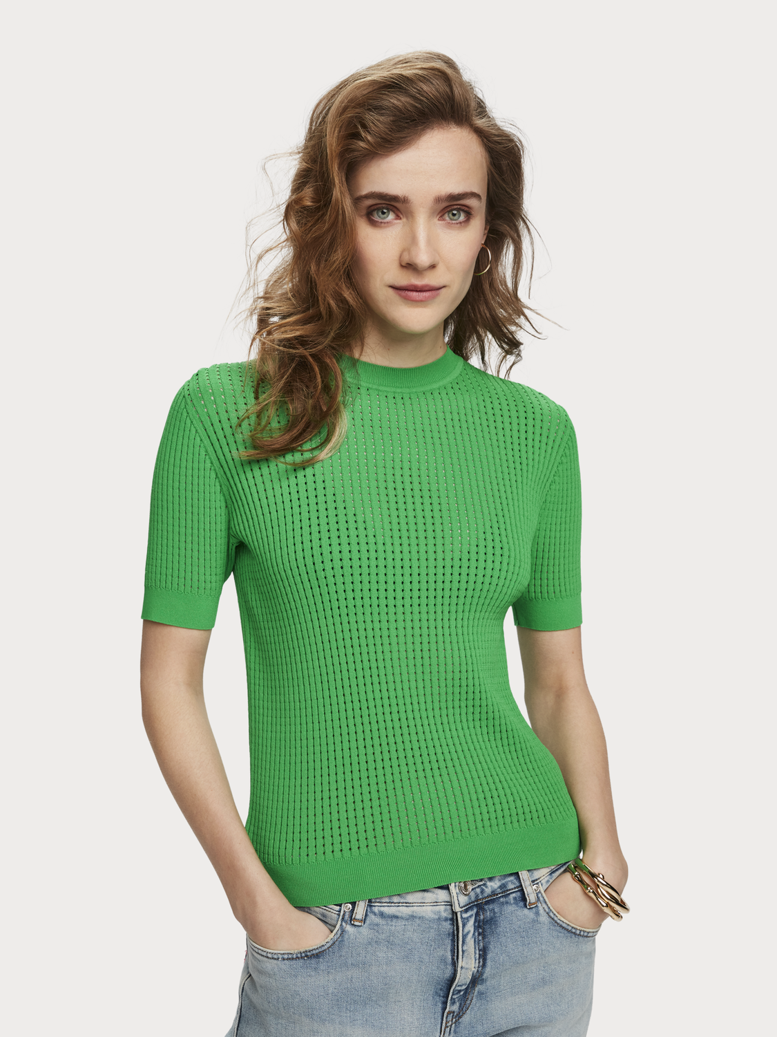 Women Pointelle Knit T-Shirt