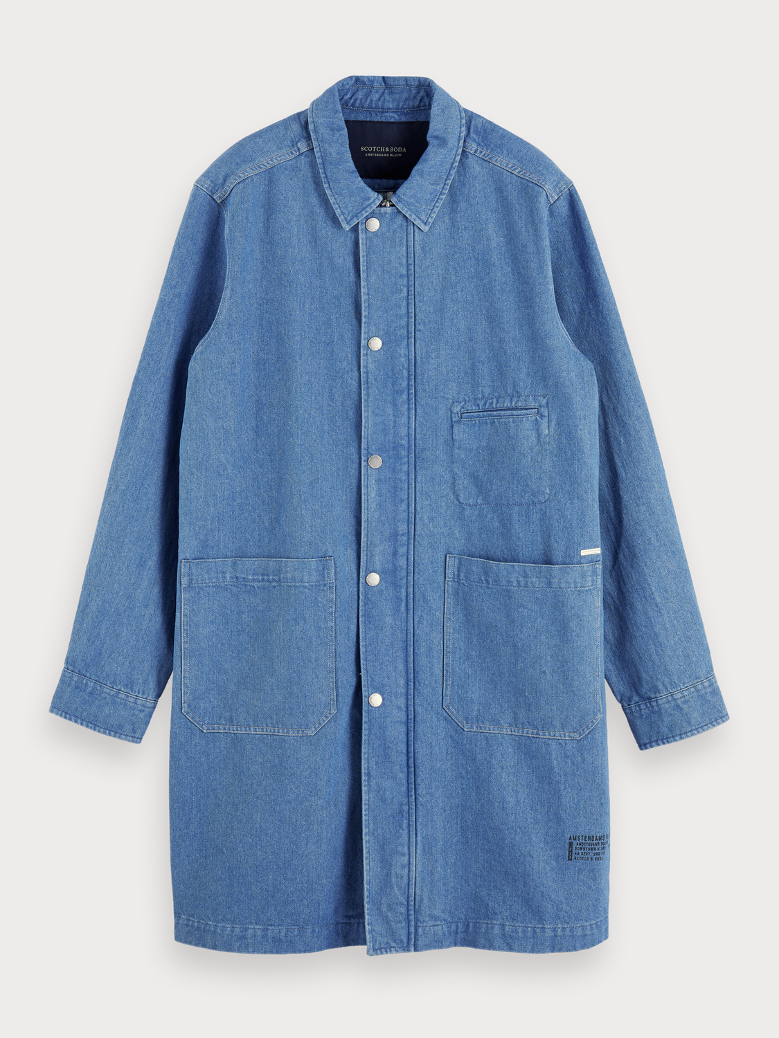 Men Denim Trench Coat