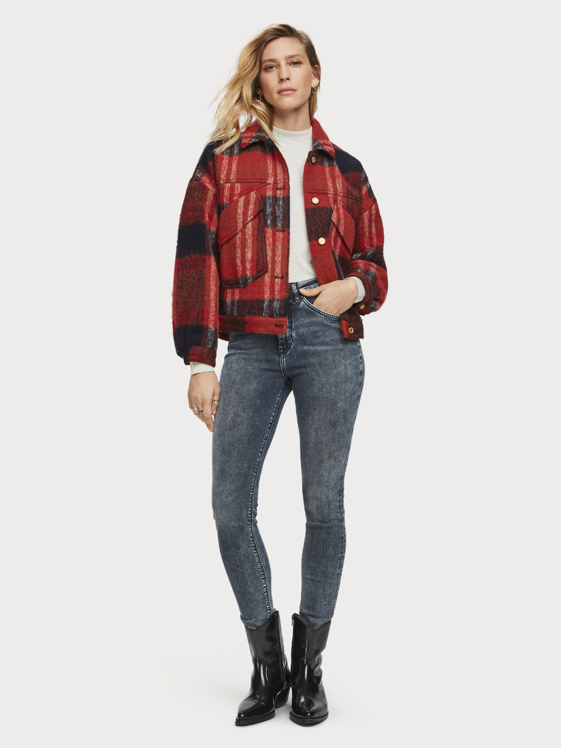 Women Oversized Checked Trucker Jacket