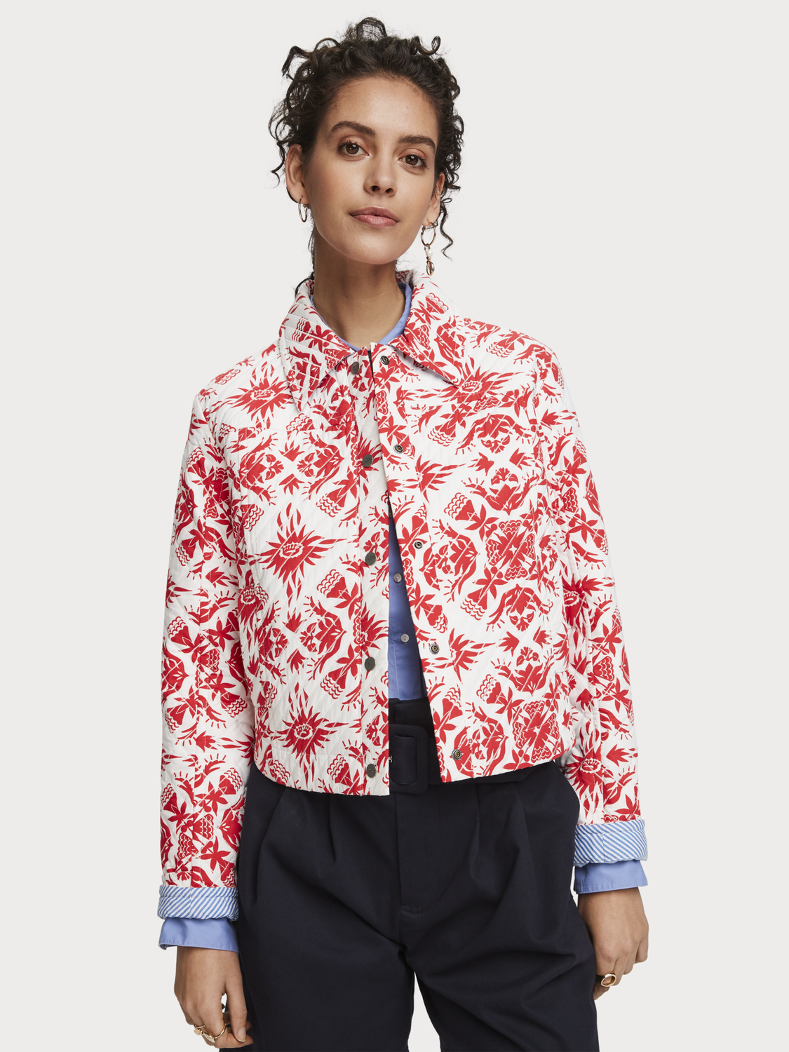 Women Tropical Print Jacket