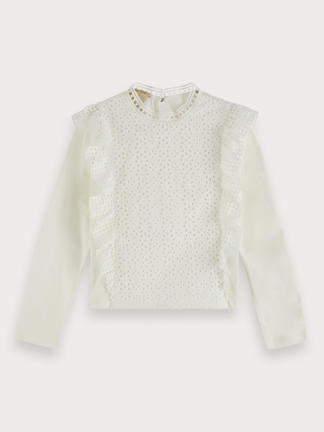 Flickor Broderie anglaise panel top