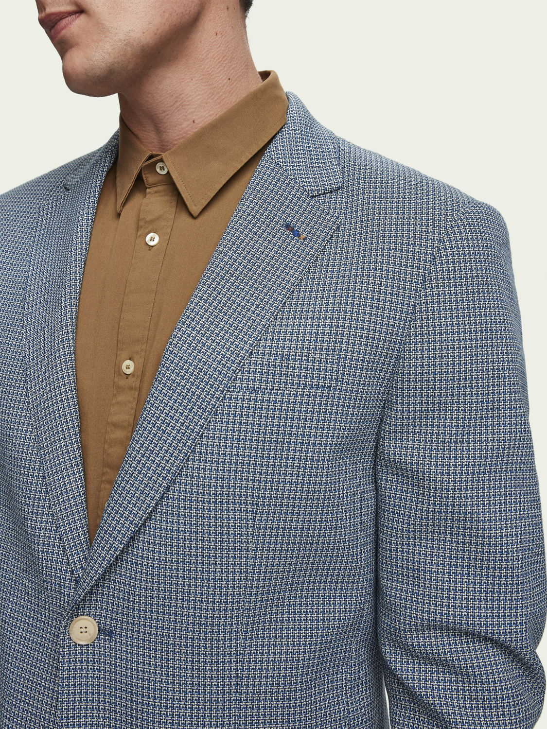 Men Yarn-Dyed Patterned Blazer