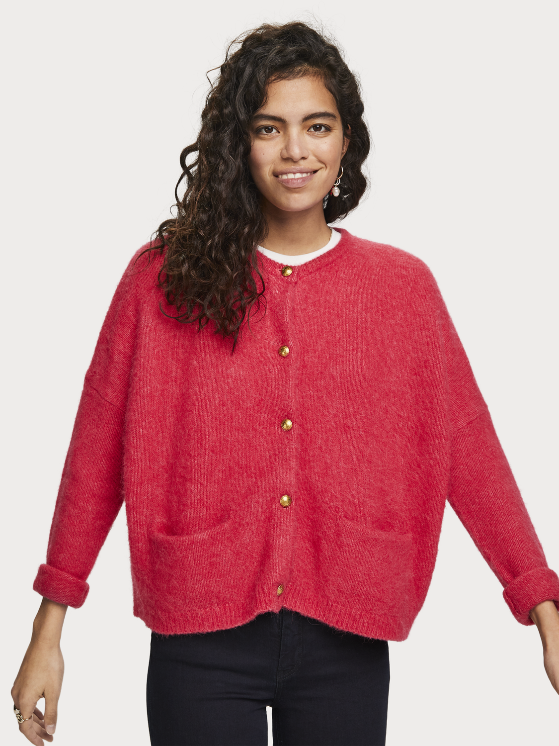 Women Fluffy Wool Blend Cardigan