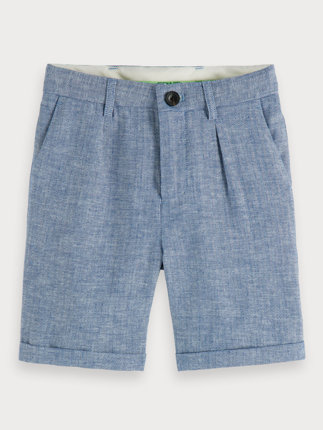 Pojkar Cotton-linen herringbone shorts
