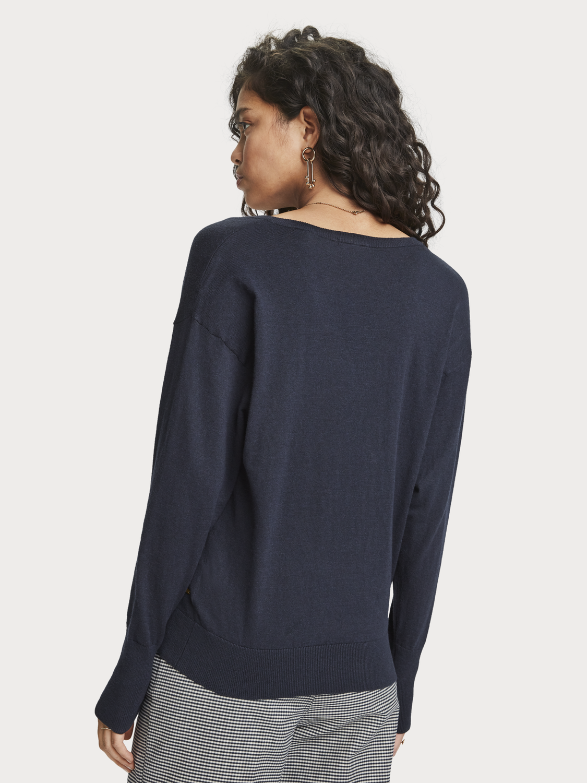 Women Basic V-Neck Pullover