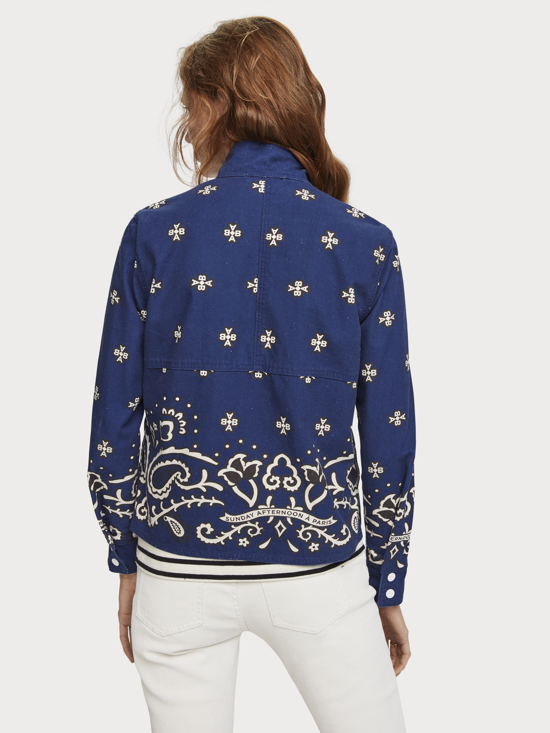 Women Bandana Print Canvas Jacket