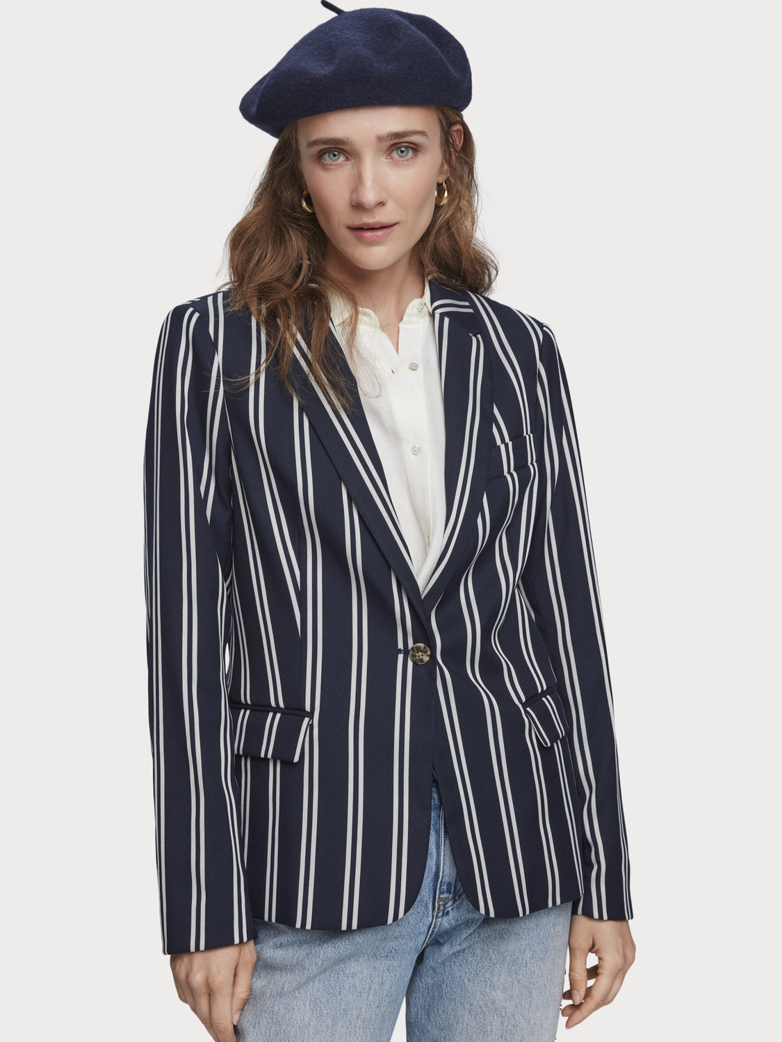 Damen Gestreifter Stretch-Blazer
