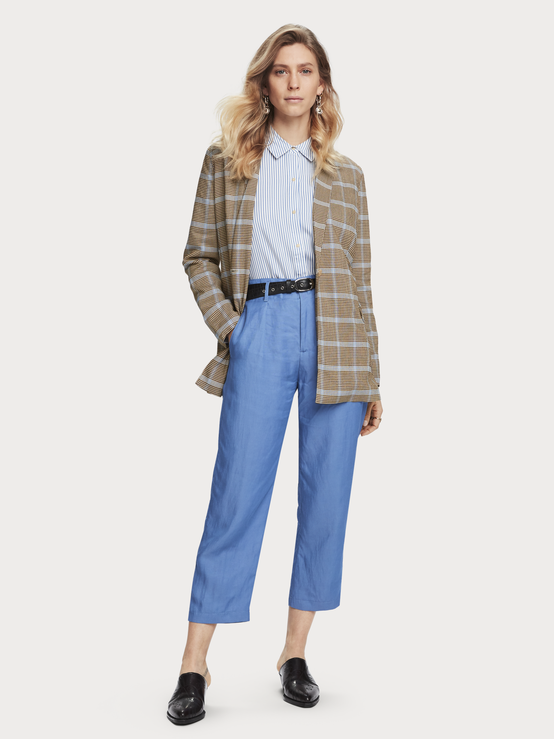 Women Checked Seersucker Blazer