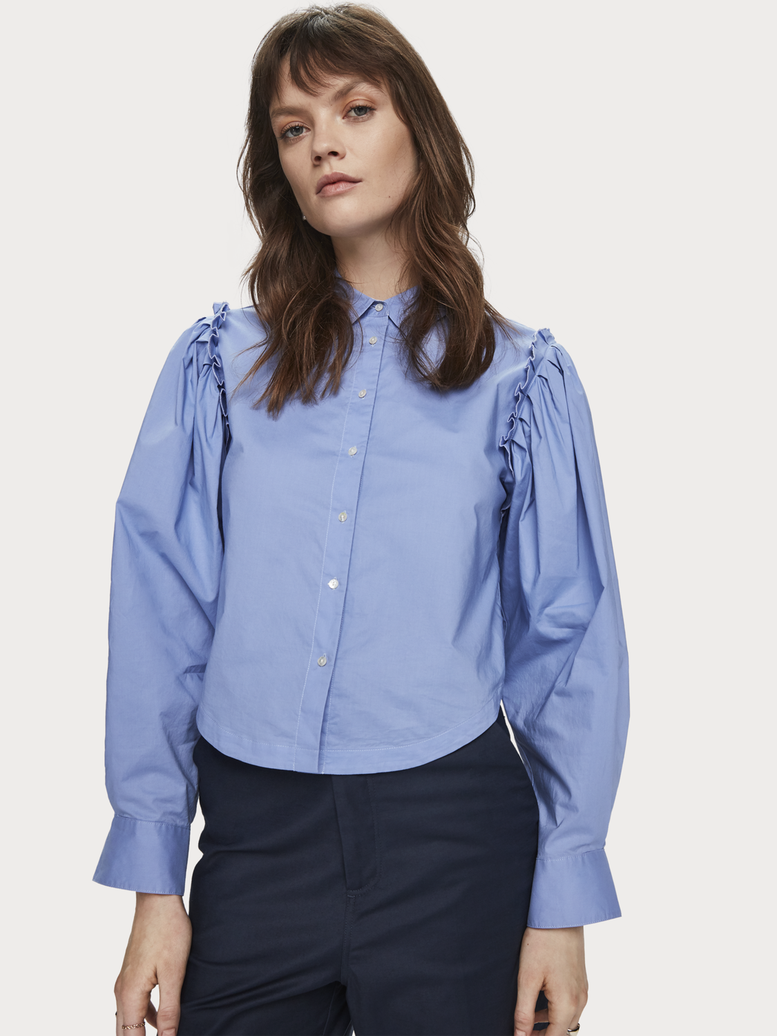 Mujer Camisa cropped con volantes