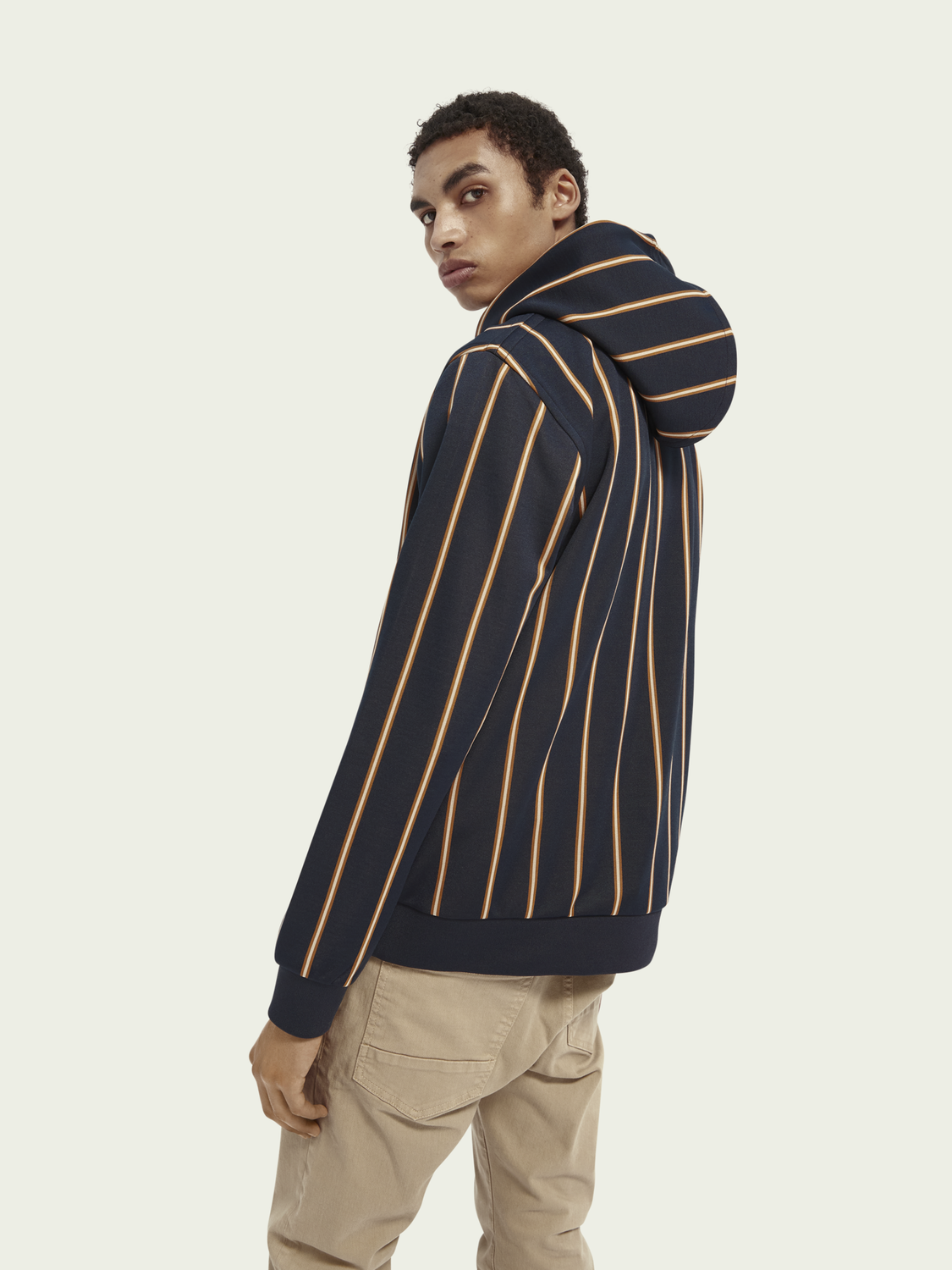 Men Striped hooded sweater