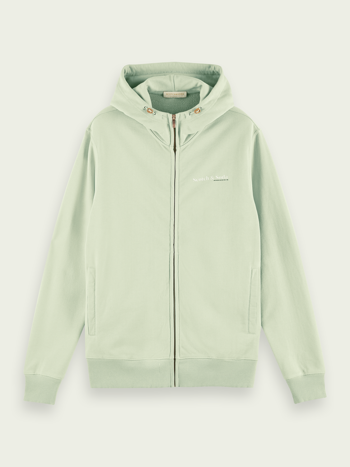 Men Classic organic cotton felpa zip-through hoodie
