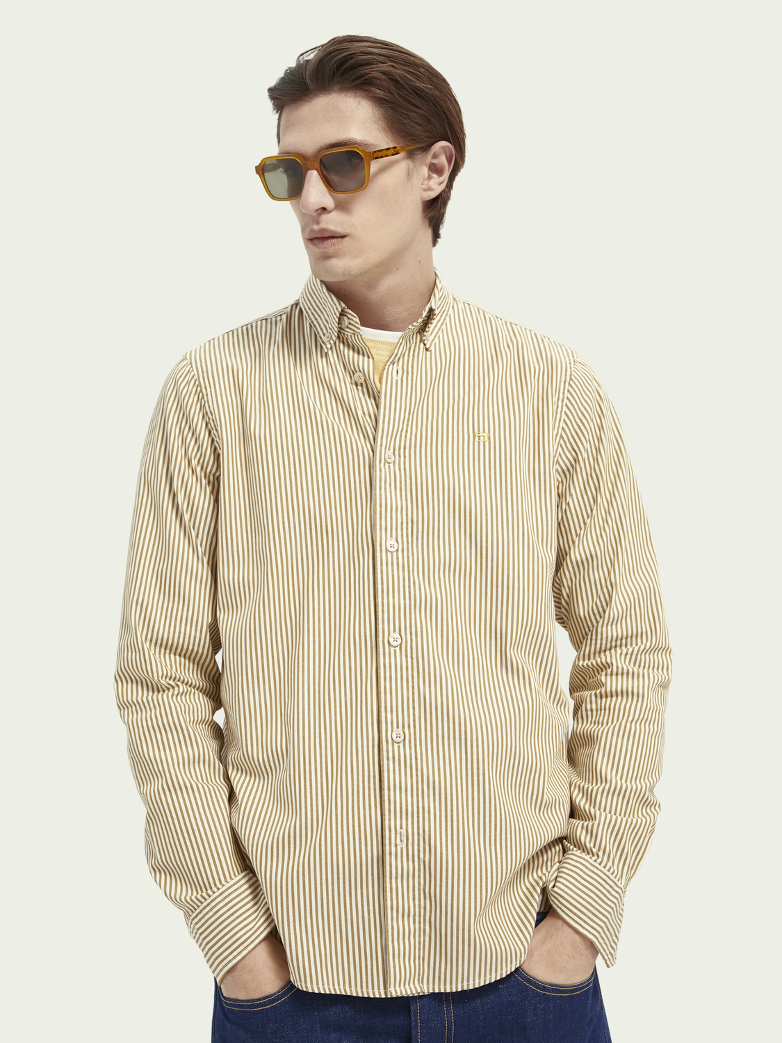 Men Striped organic cotton oxford shirt