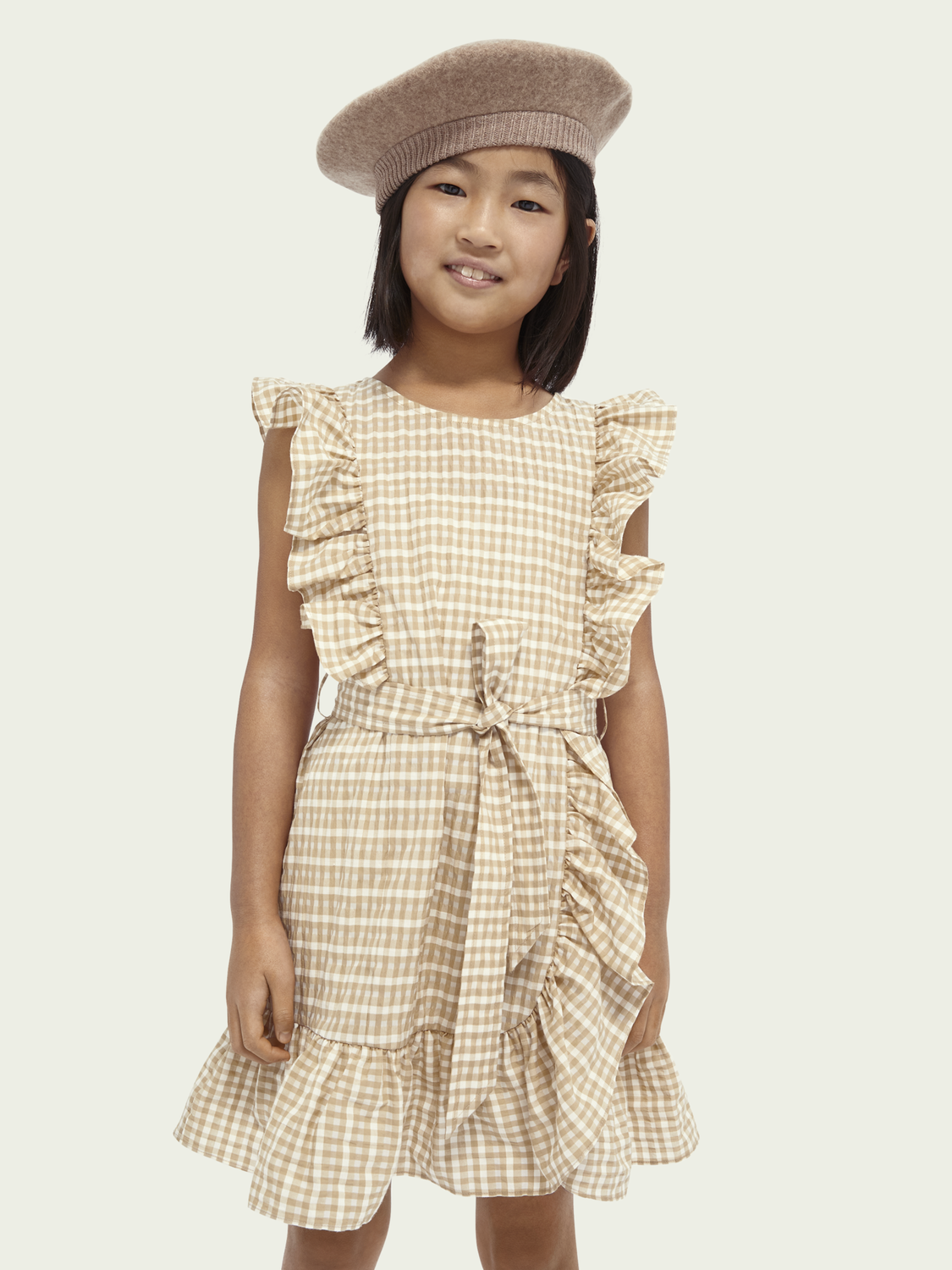 Kids Cotton-blend belted ruffle dress