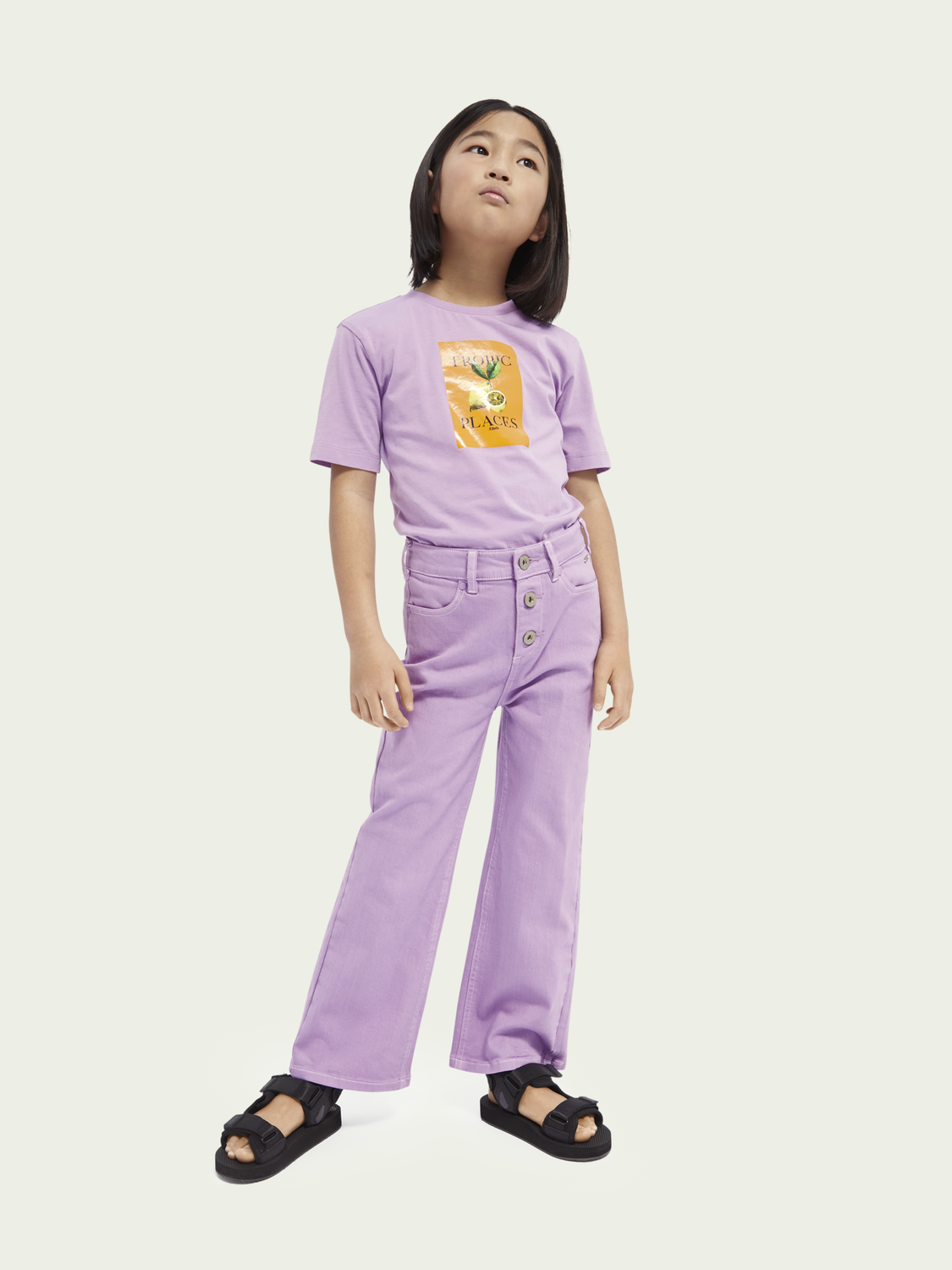 Kids Organic cotton artwork T-shirt - Lavender