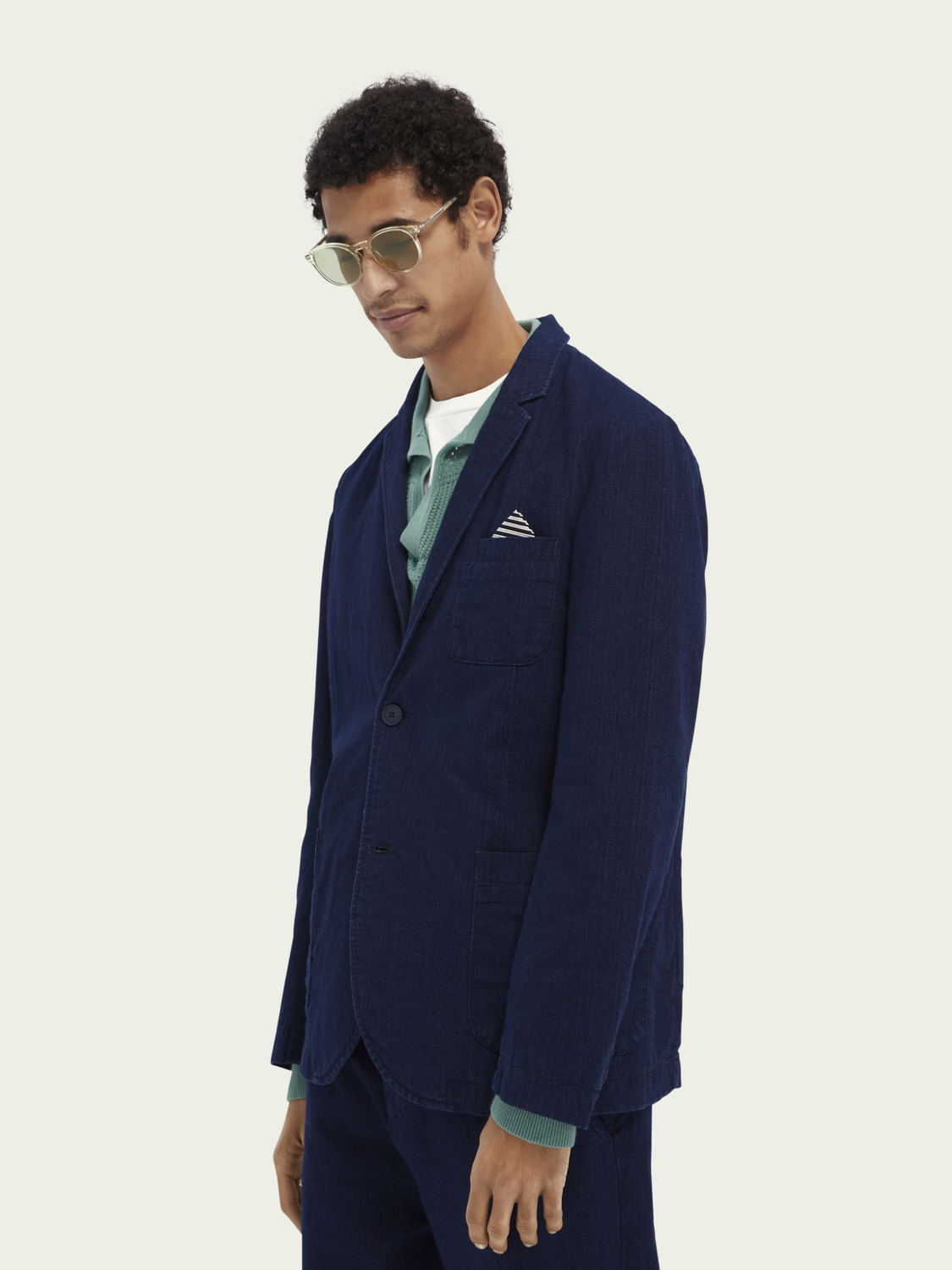 Men Indigo cotton-linen blend blazer