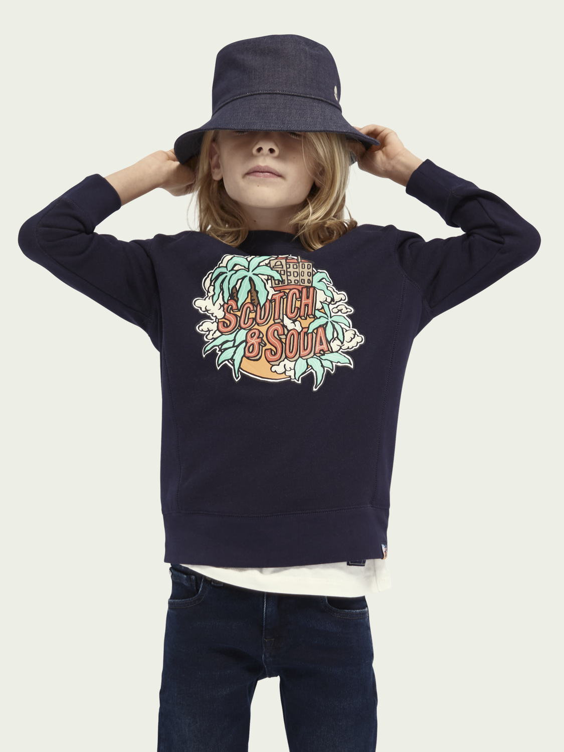 Kids Crewneck artwork cotton-blend sweater