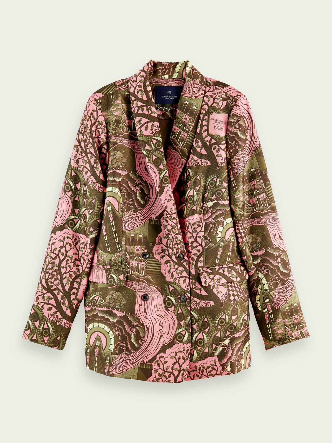 Women Double-breasted pattern blazer