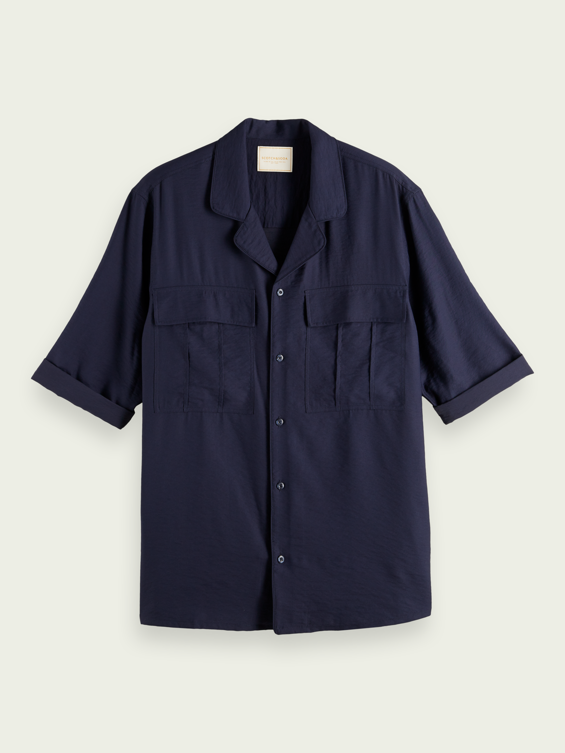 Men Short-sleeved viscose-blend shirt