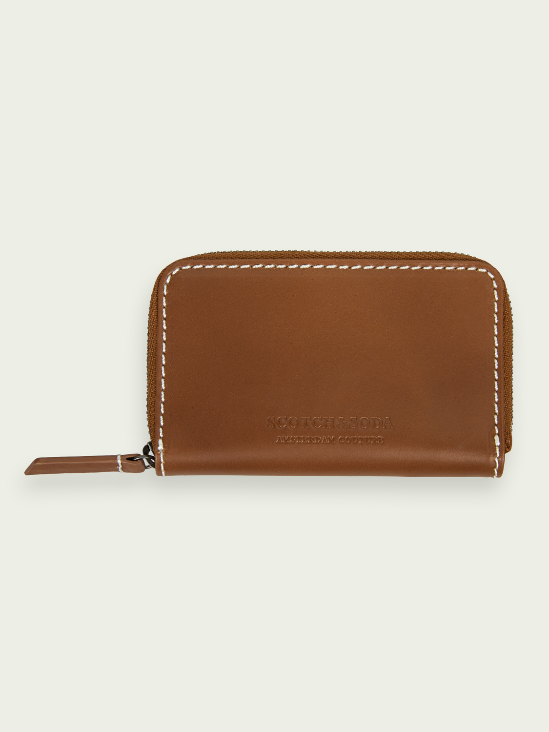 Men Recycled leather zip coin wallet