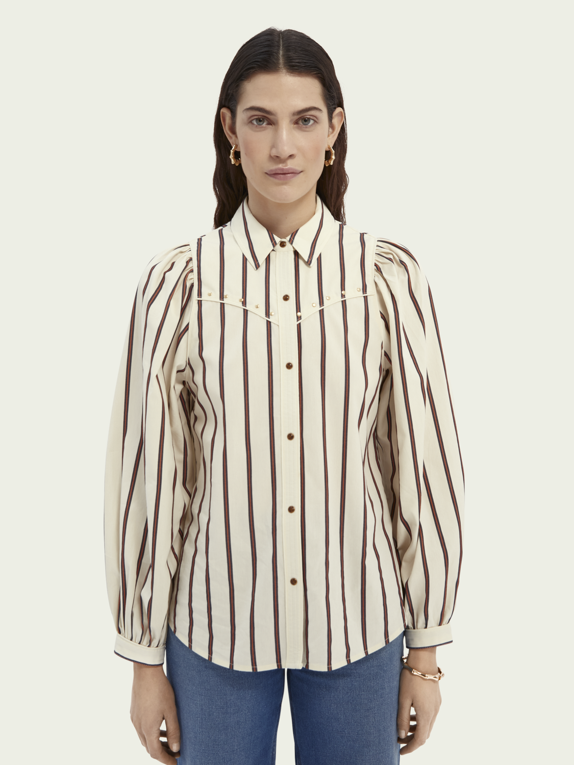Women Western-style shirt with balloon sleeves