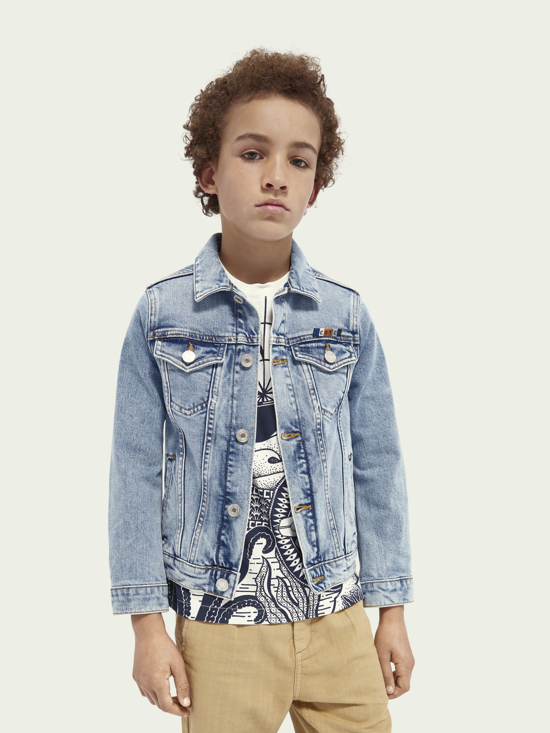 Kids Organic cotton trucker jacket - Crystal Clear