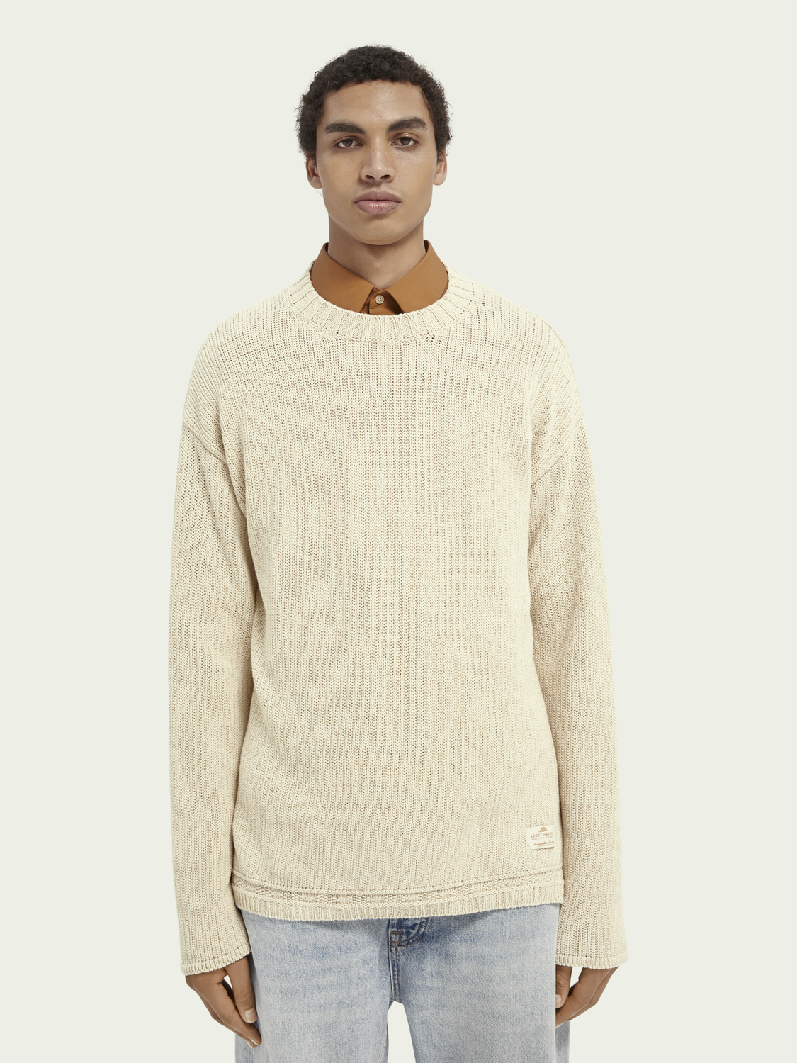 Men Structured knit recycled cotton blend sweater