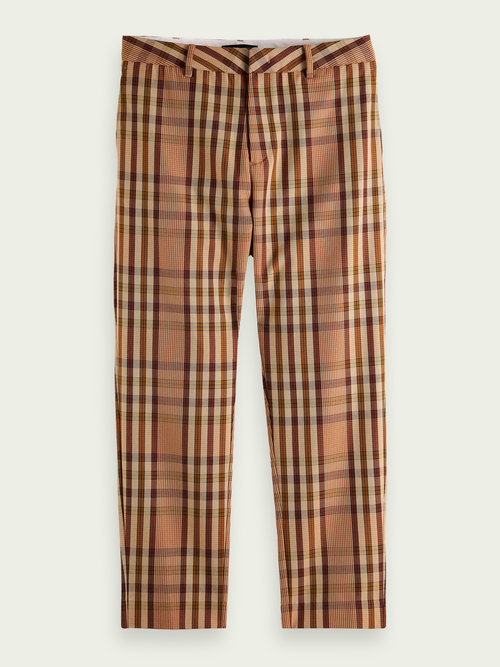 Men Fave checkered yarn-colored chinos