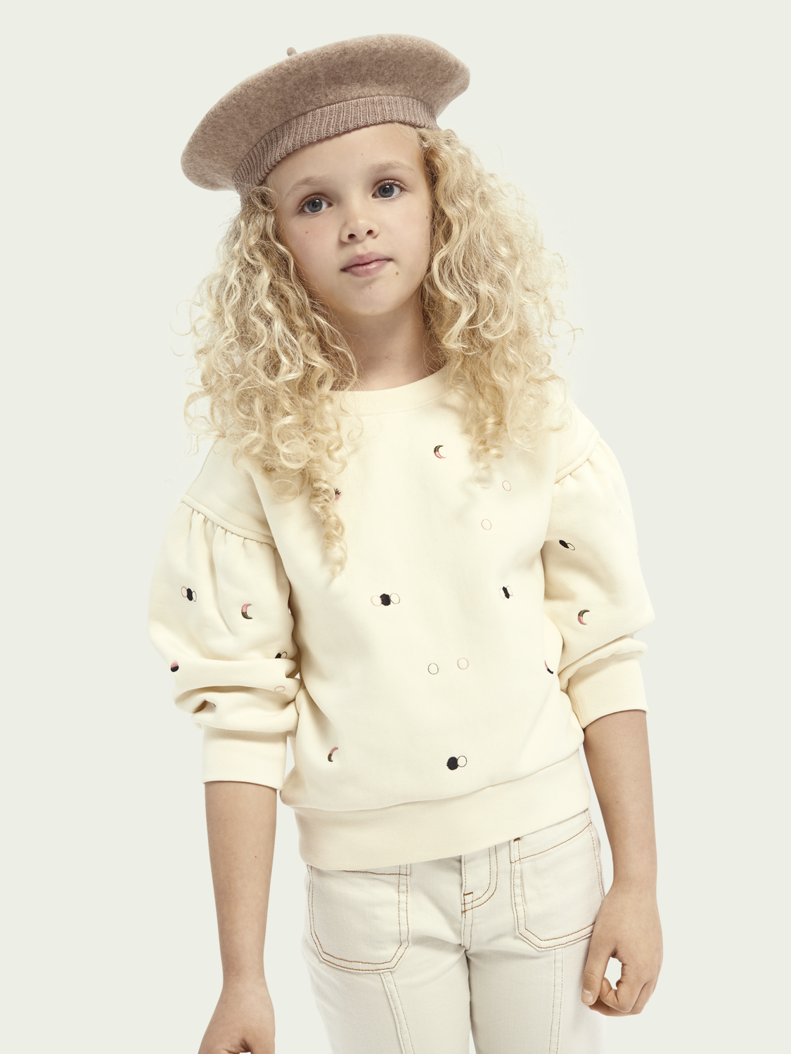 Kids Cotton-blend balloon sleeve sweater with all over embroidery