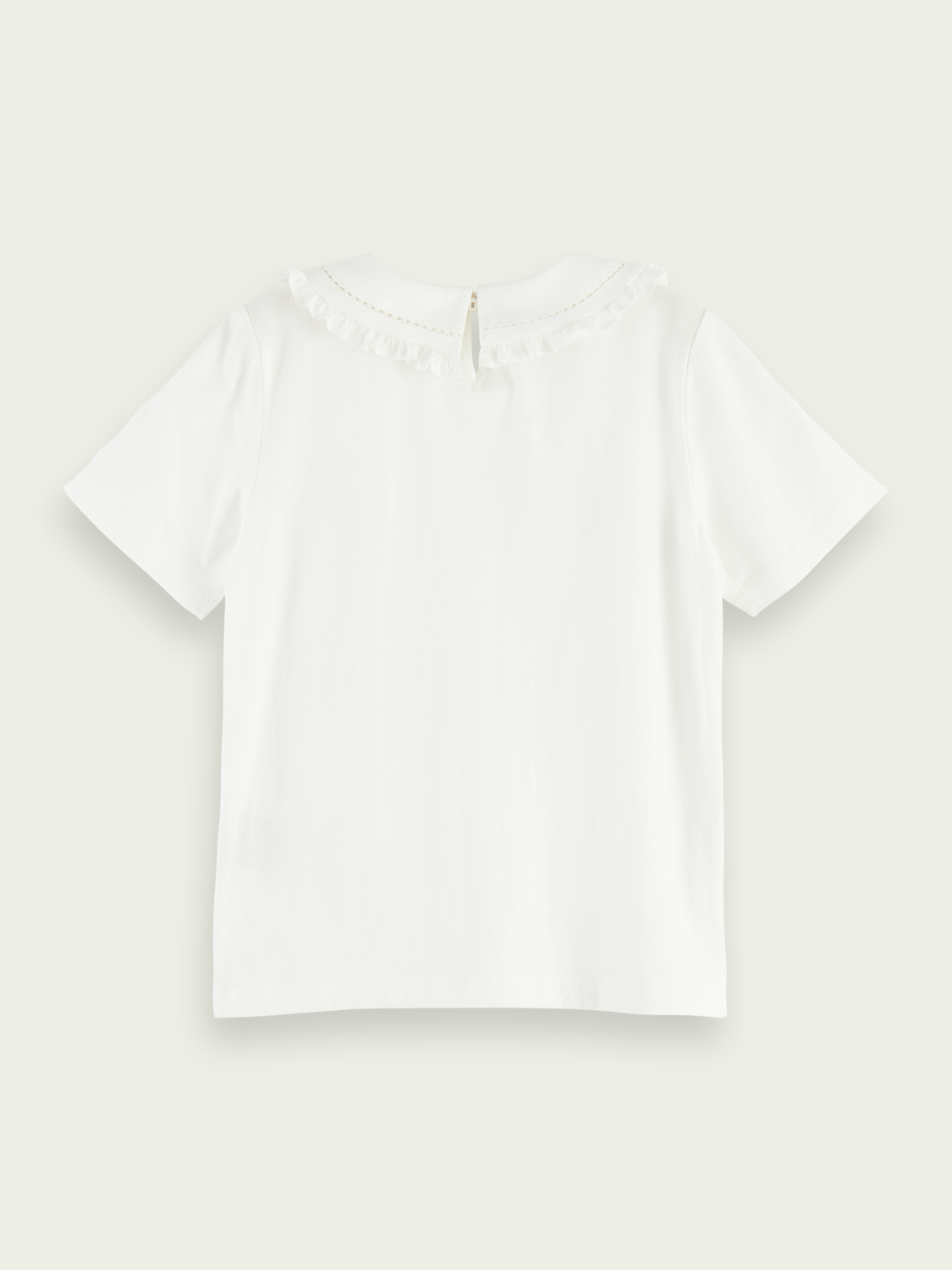 Kids Short-sleeved woven ruffle collar top
