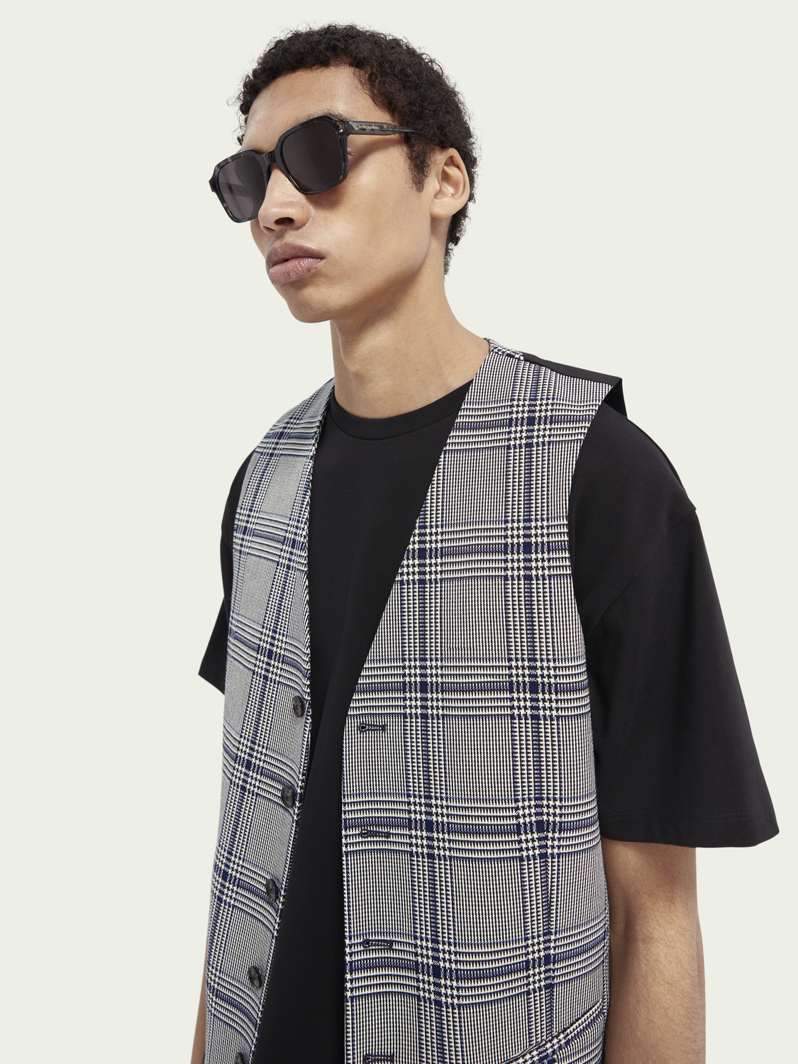 Men Checked structured gilet
