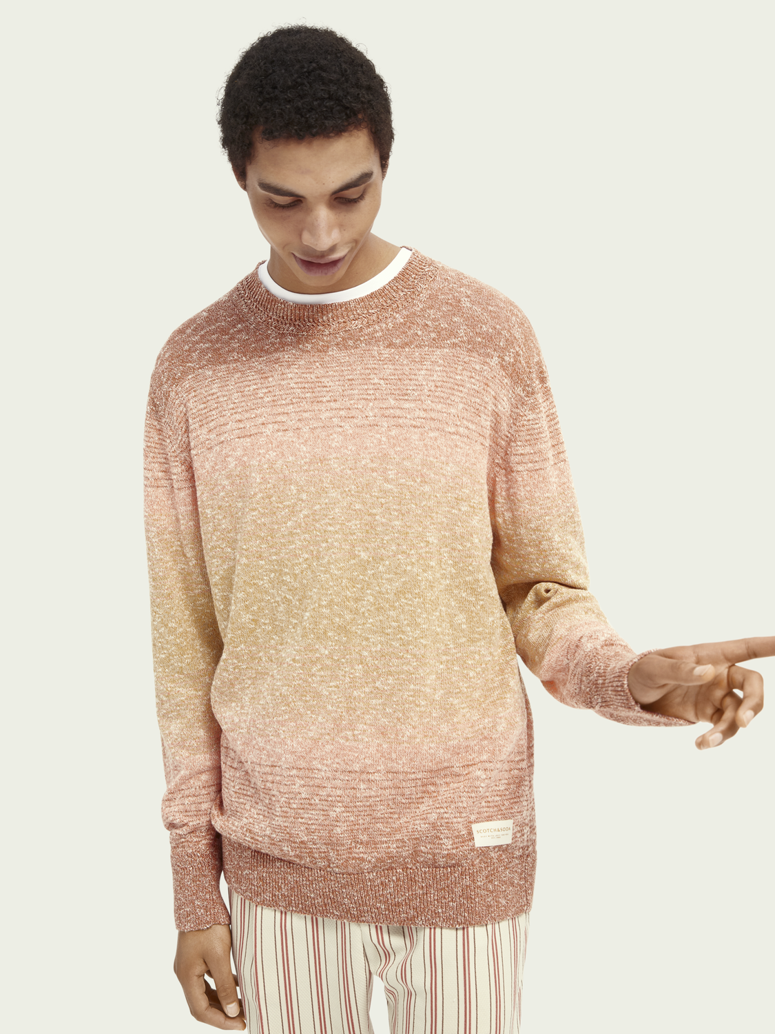 Men Crew neck recycled cotton-blend sweater