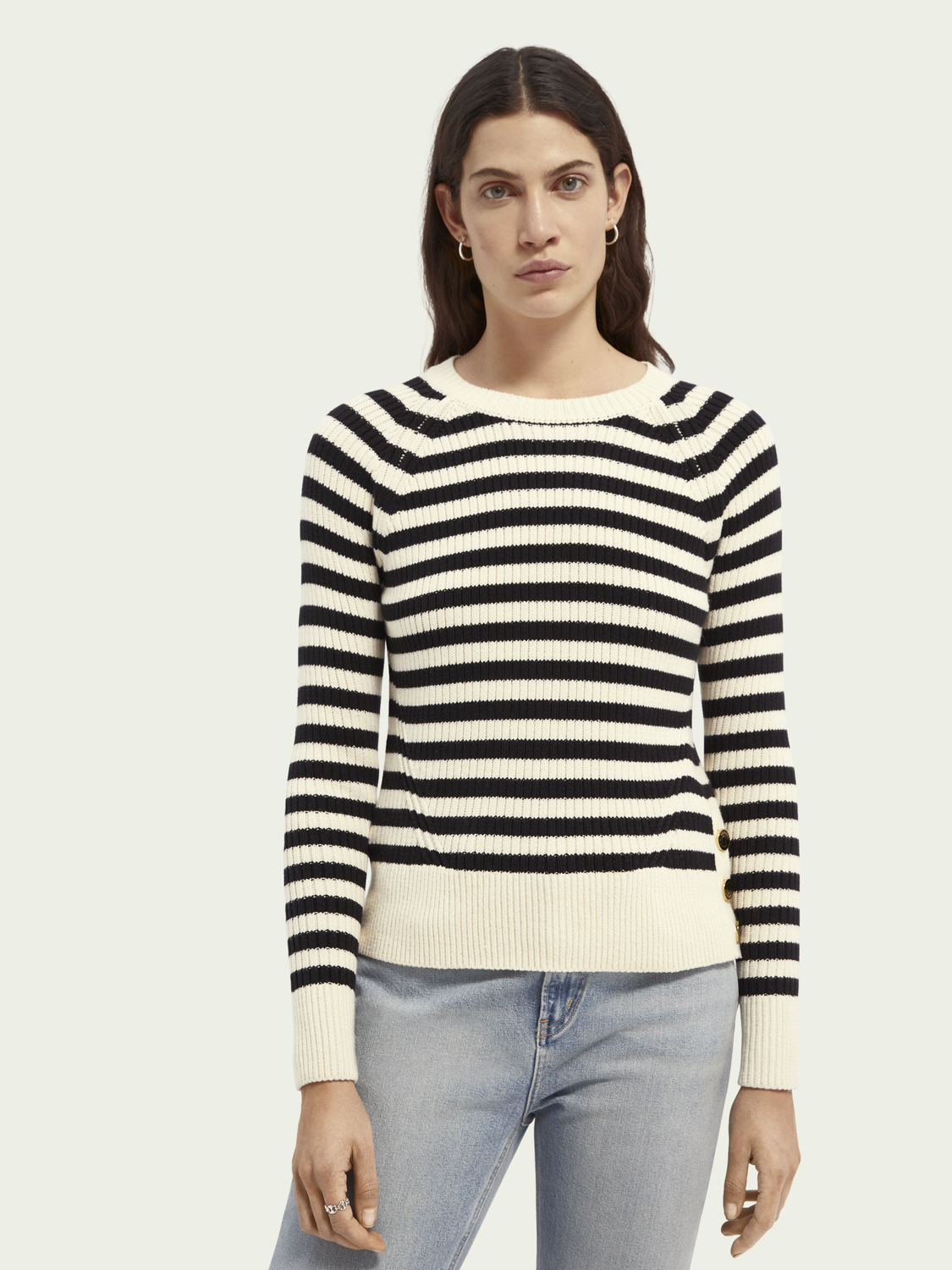 Women Striped organic cotton-blend sweater