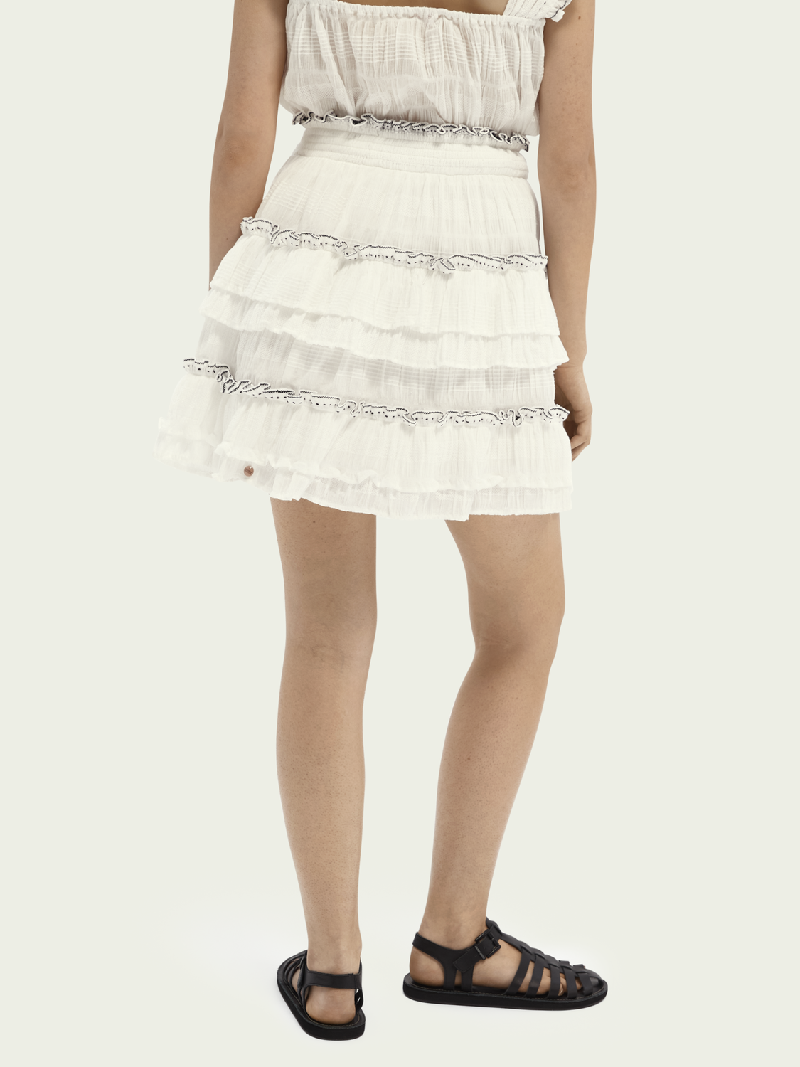 Women Ruffled cotton-blend skirt