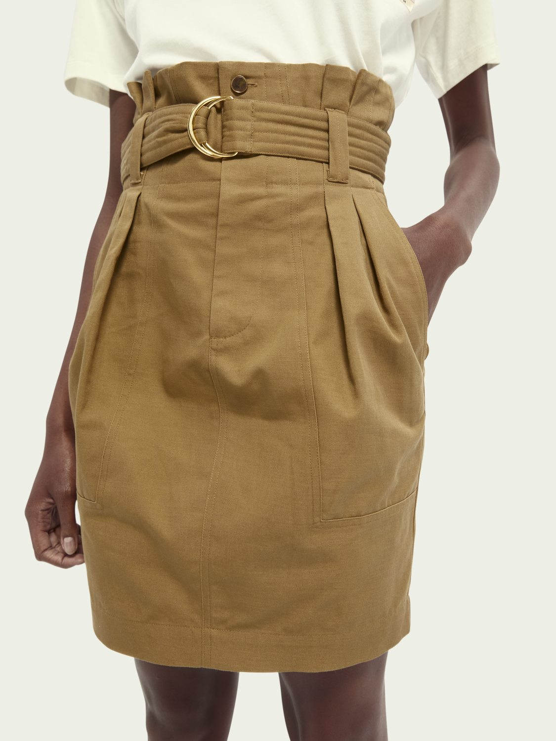 Women High-waist cotton-linen utility skirt