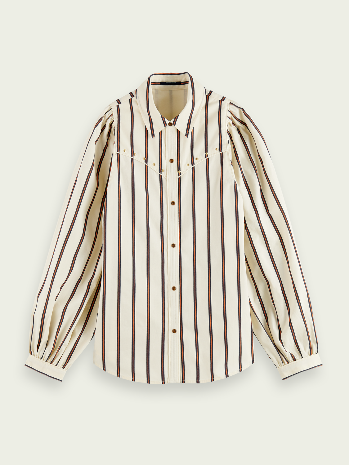 Women Western-style cotton shirt with balloon sleeves