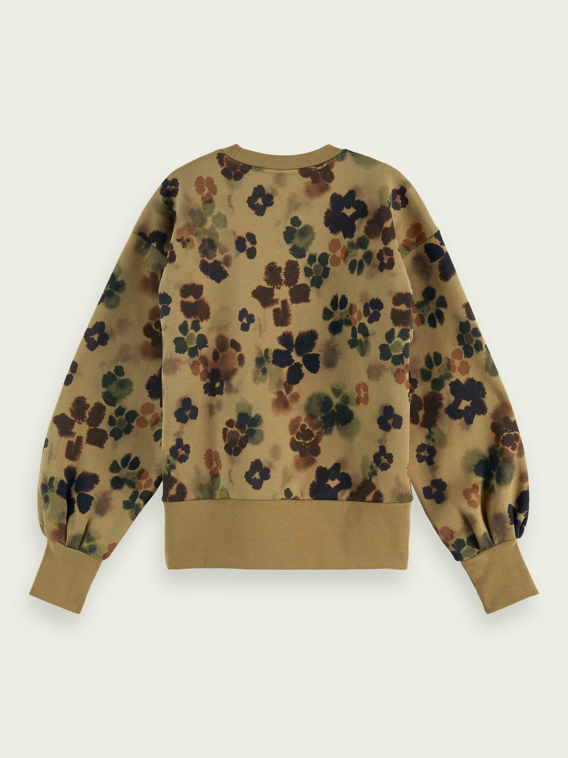 Women Floral balloon-sleeved sweater