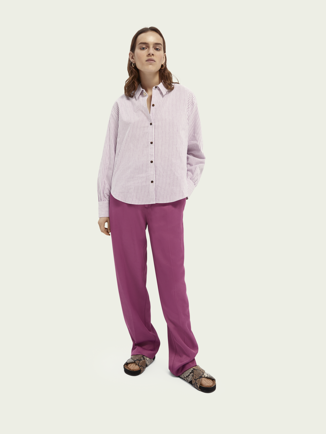 Women Boxy fit cotton-linen blend shirt