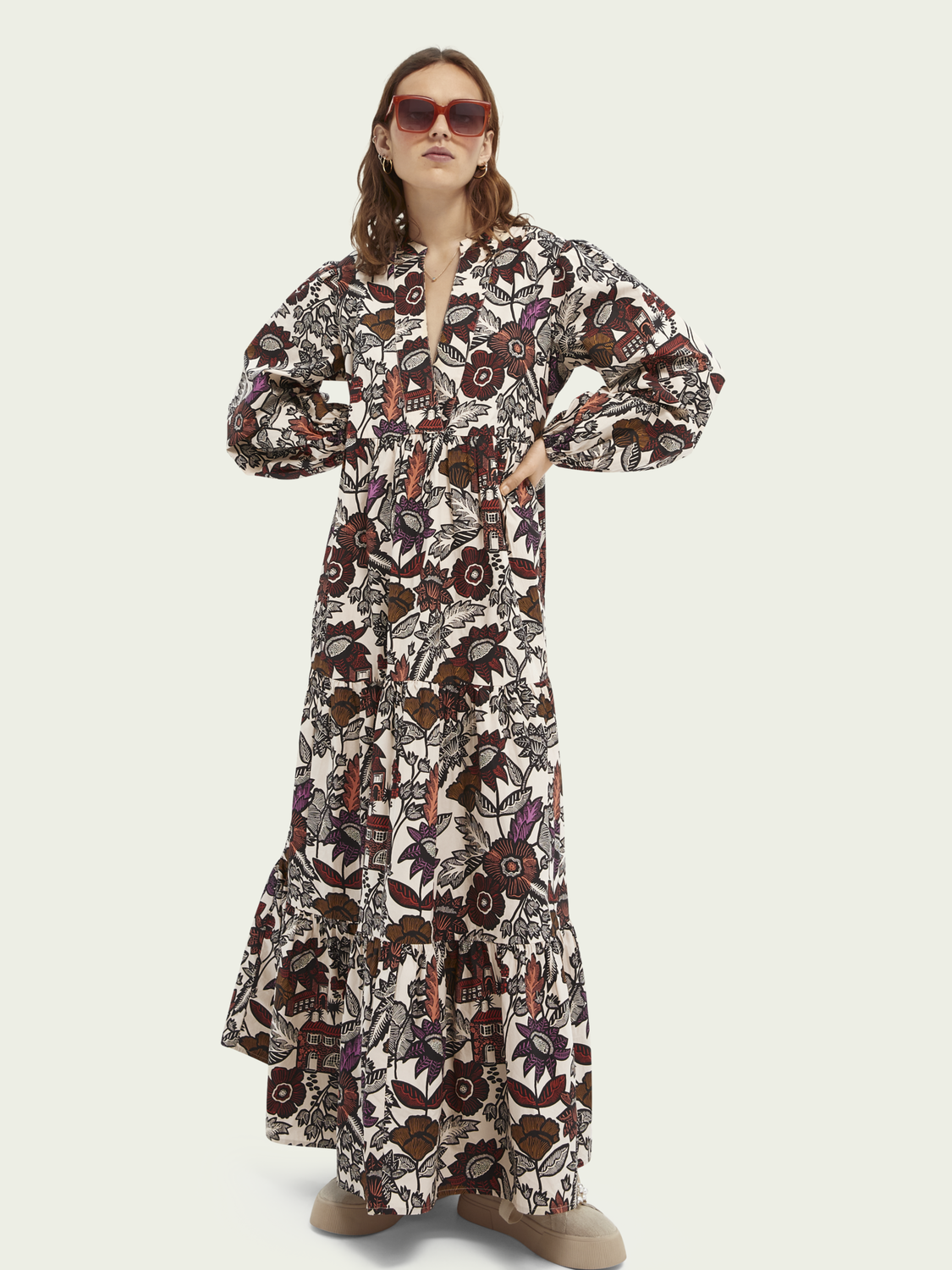 Women Voluminous printed organic cotton dress