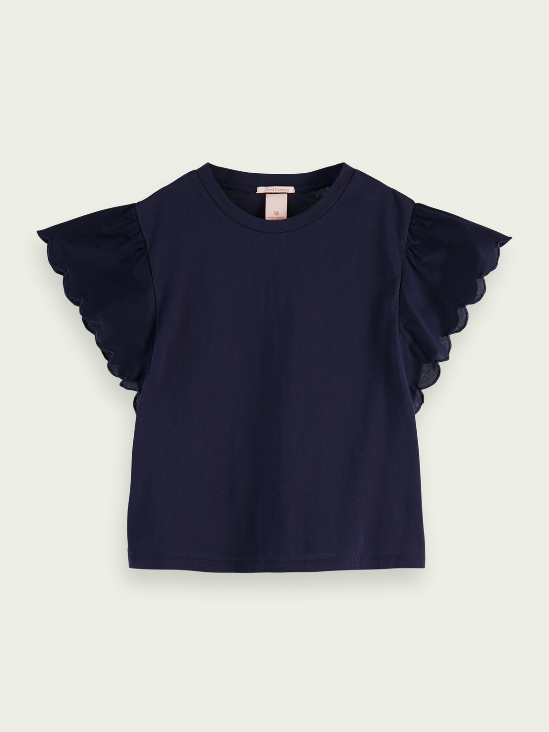 Kids Cotton jersey scalloped sleeve T-shirt