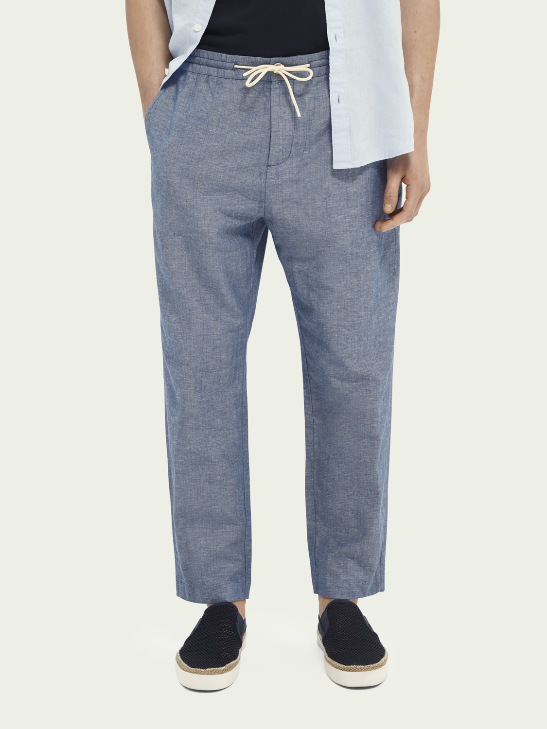 Men Fave linen & organic cotton-blend beach trousers