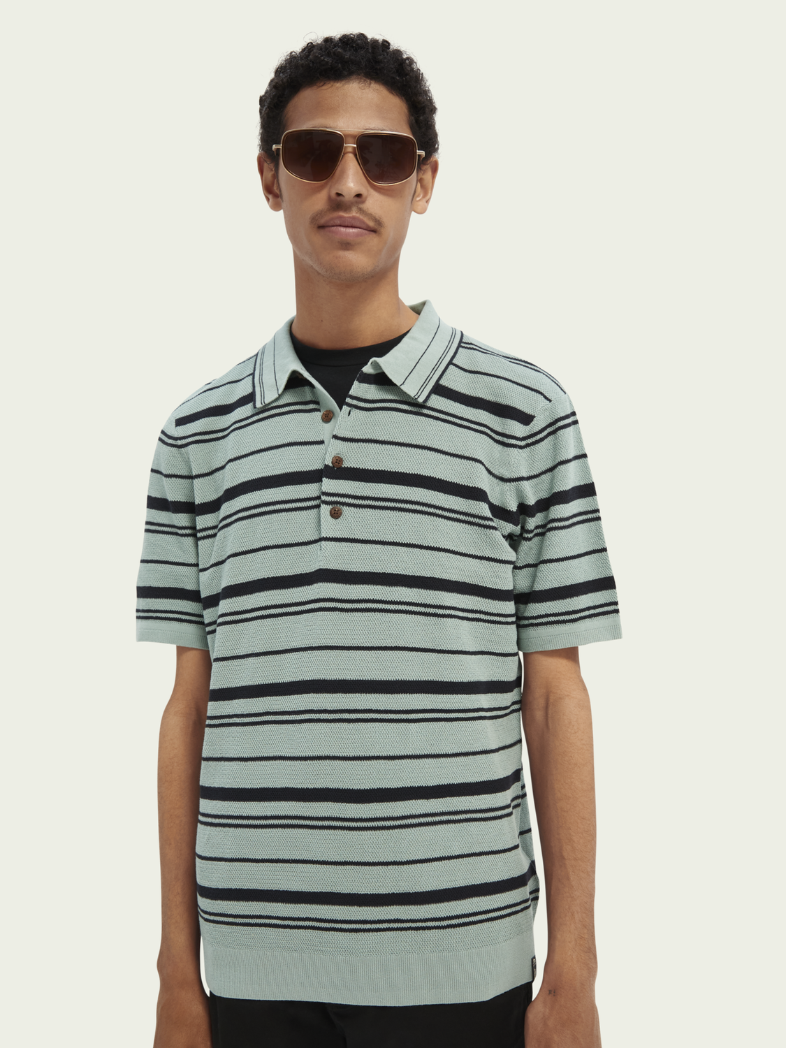 Men Knitted striped cotton polo