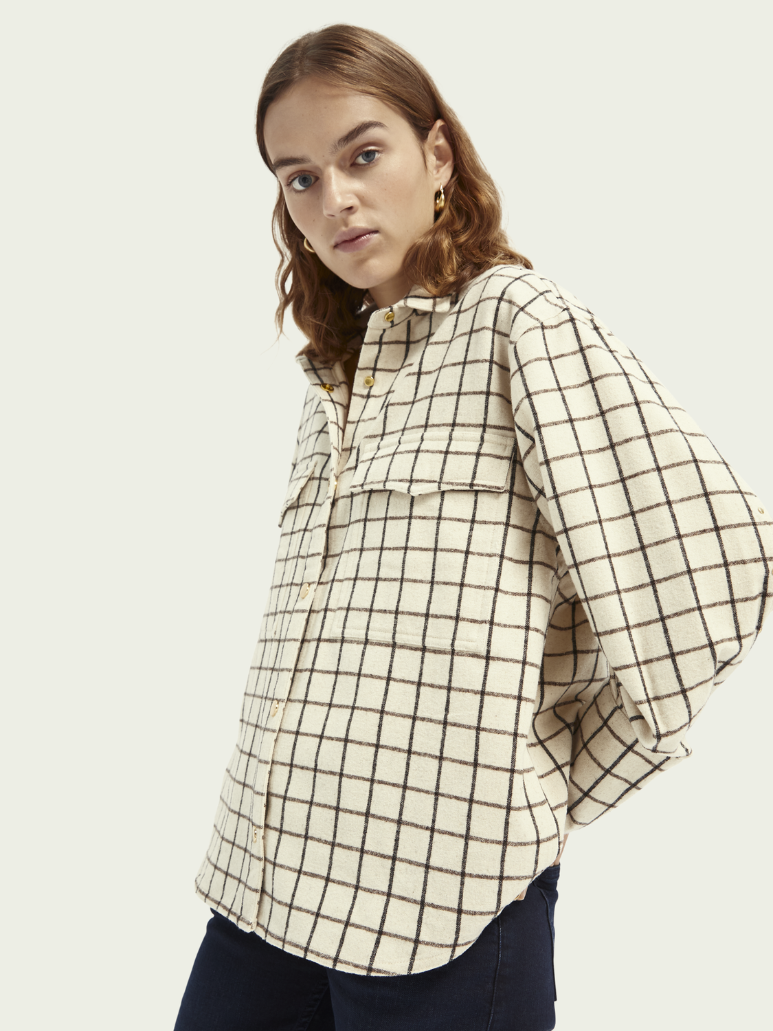 Women Oversized wool-blend shirt