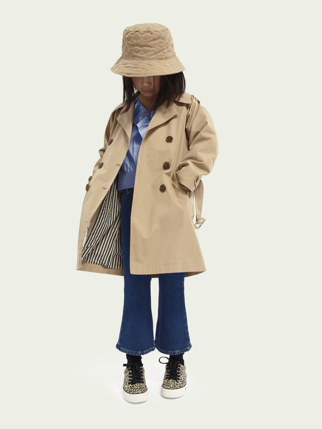 Kids Longline cotton-blend trench coat