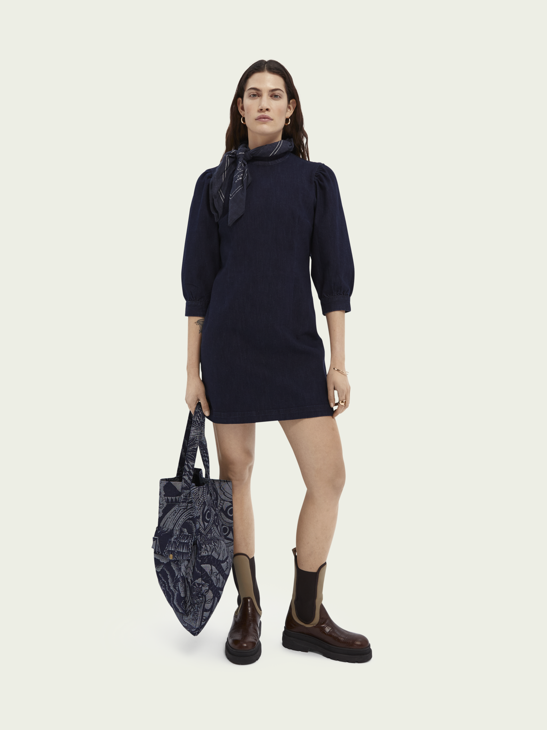 Dames Denim mini-jurk met driekwartmouwen