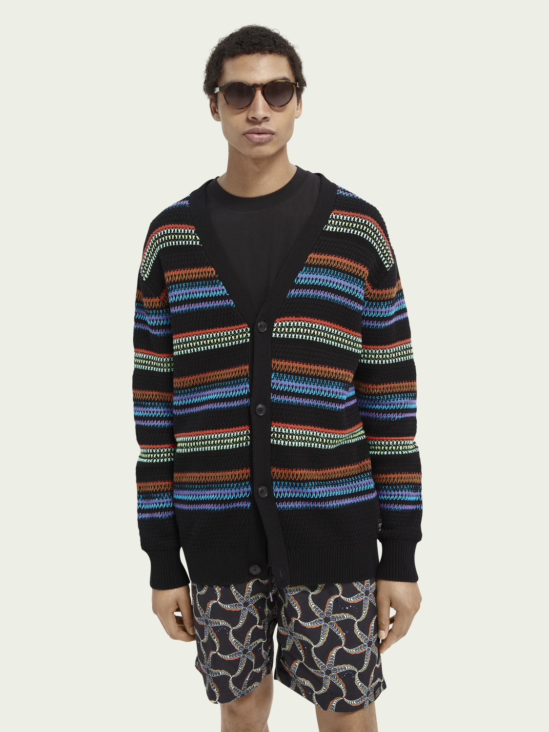 Men Structured knit cotton cardigan