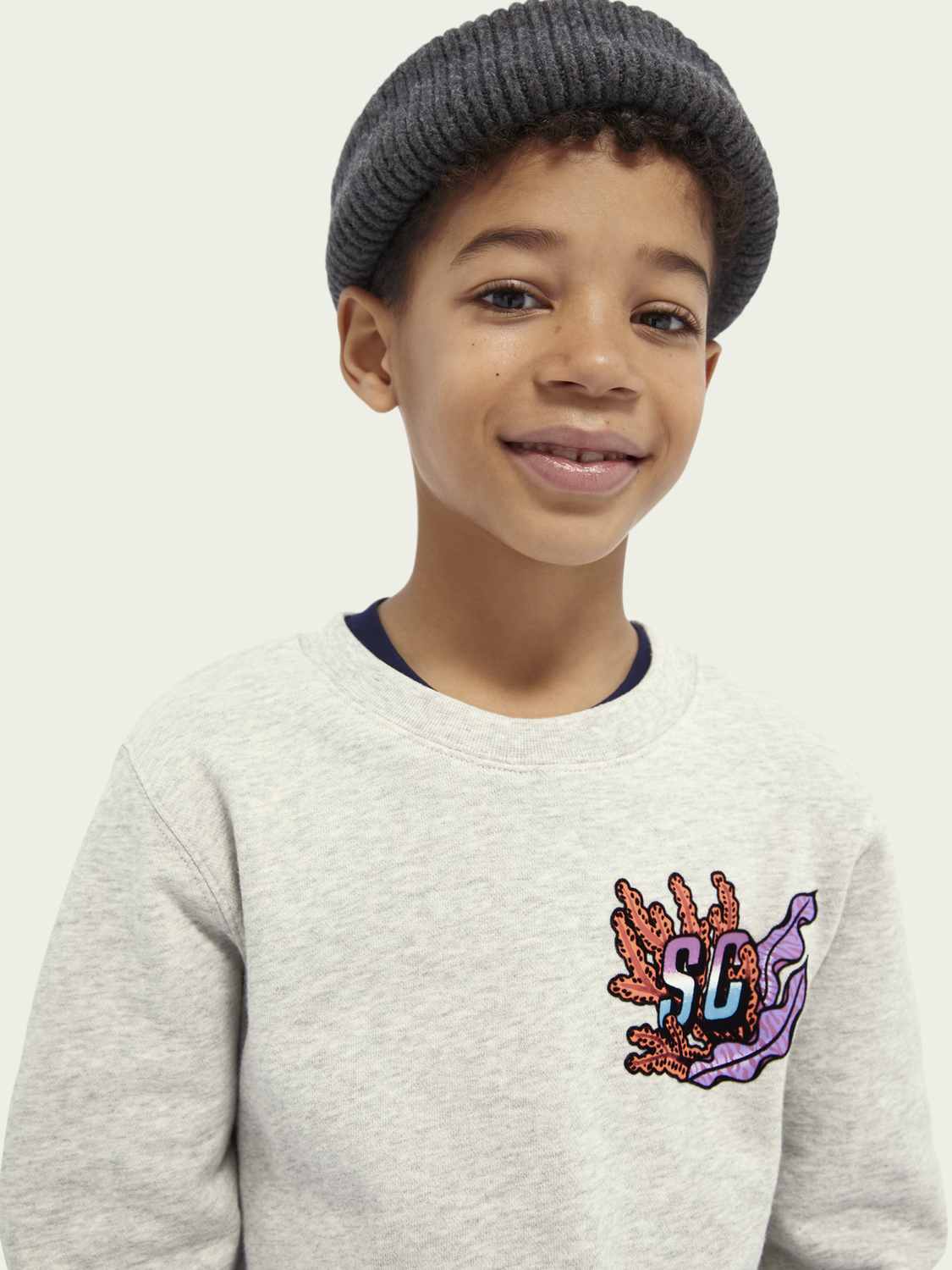 Kids Ocean-graphic cotton sweatshirt