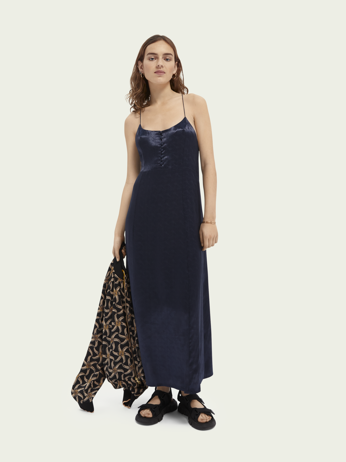 Women Jacquard summer slip dress