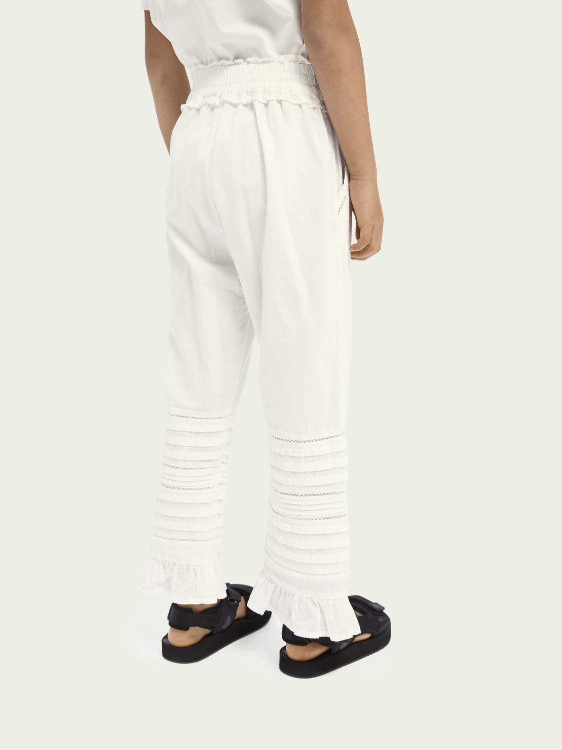 Kids Ruffled straight cotton trousers