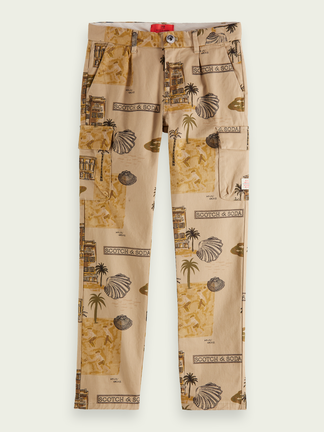 Kids Loose fit print cotton cargo trousers
