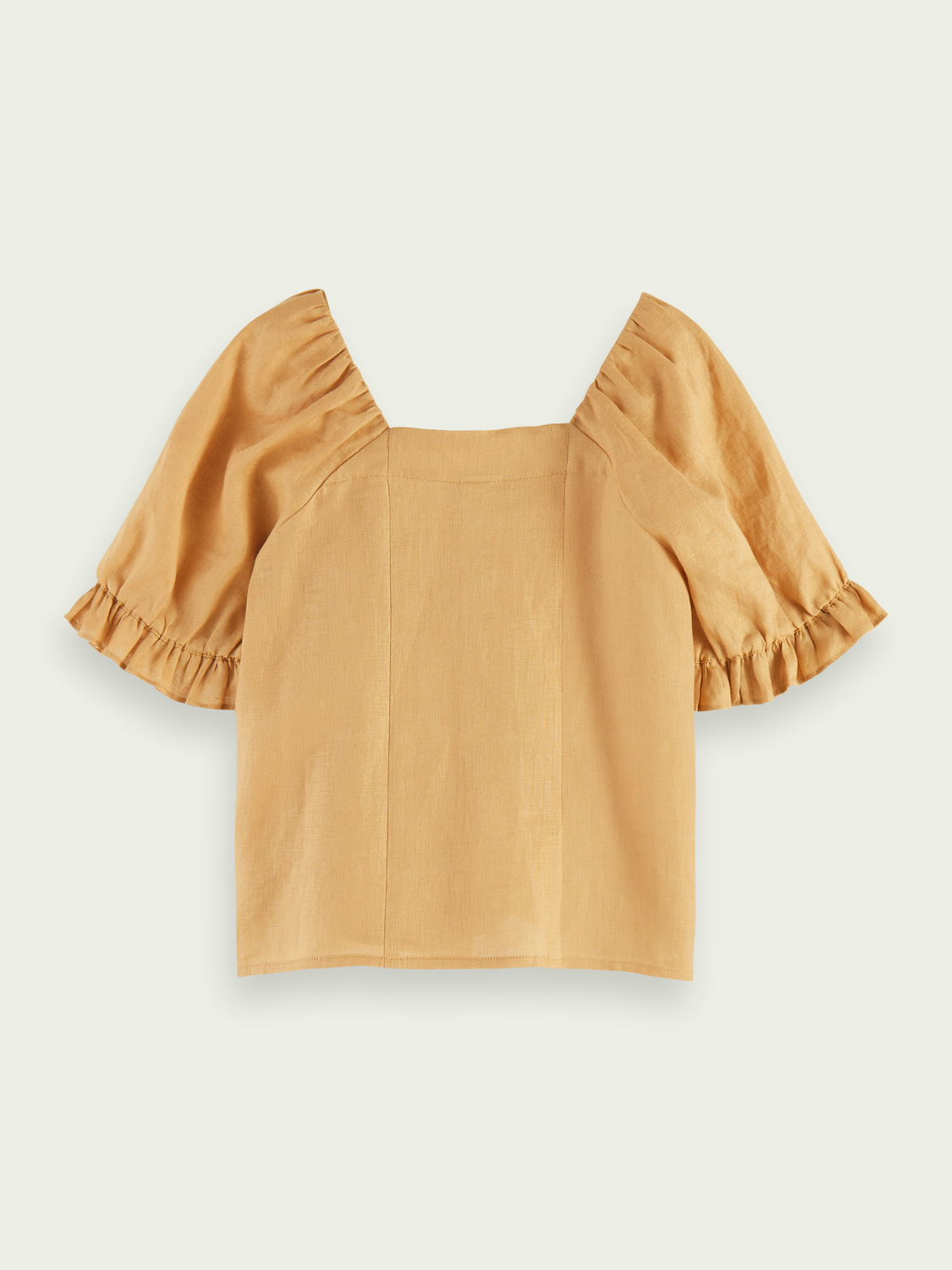 Kids Linen voluminous sleeved top - Sand